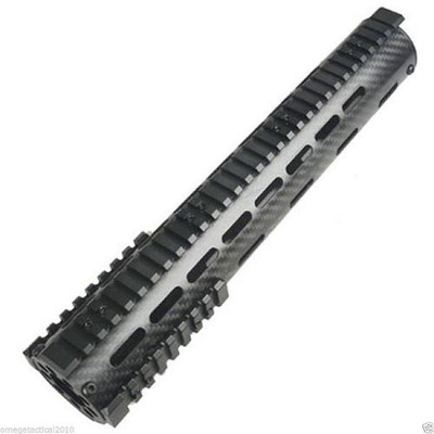 "Carbon Fiber Mid Length 9"" Free Float Quad Rail Handguard, End Cap with Nut"