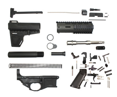 "Davidson Defense AR-15  80% Poly Lower Pistol Kit 7.5"" .223 Stainless Barrel 1:7 T 7"" Carbon Fiber Handguard With KAK Blade Lower Parts Kit (does not include bcg or upper)"