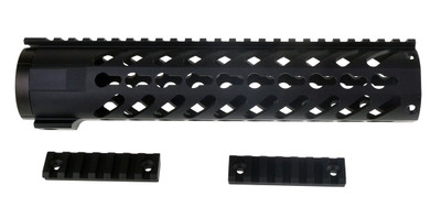 "Omega Mfg AR-15 Slant Port Keymod Free Float Quad Rail 10"" Rifle Length & Barrel Nut"