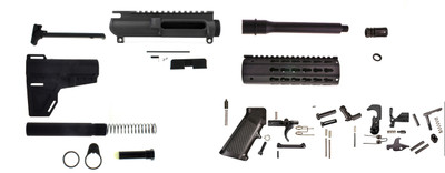 "Davidson Defense Complete AR-15 9mm Pistol Kit 7.5"" Barrel 1-10 T QPQ Nitride Finish W/ KAK Blade & LPK (Everything Except BCG & Lower)"