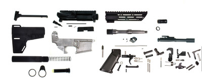 "Davidson Defense DIY 80% Lower 7.5"" Pistol Kit, Everything Including Bolt Carrier Group & KAK Arm Brace"