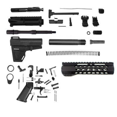 "Davidson Defense Pistol 7.5"" 5.56 NATO Complete AR-15 Kit with KAK BLADE & BCG + Flip-Up Sights"