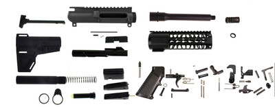 """Aero Precision AR-15 9mm Complete Pistol Kit 7.5"""" Barrel 1-10 QPQ Nitride Finish **Includes Everything- Even Glock Magwell Adapter**"""