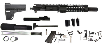 """Davidson Defense  9mm 7.5"""" Inch Assembled Pistol Kit & Glock 9mm Magwell Adapter, Everything But the Lower Receiver!"""