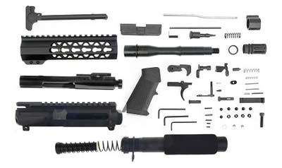 """Davidson Defense Complete Pistol Kit Featuring 7.5"""" 5.56/.223 Nitride Finish 1-7 Twist & 7"""" Light  Keymod Handguard Comes W/ Everything But The Lower"""