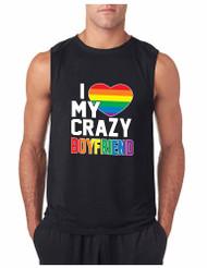 I LOVE MY CRAZY BOYFRIEND GYM Adult Sleeveless T Shirt