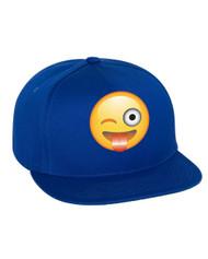 Emoji Winking Emoticon Flat Bill Cap gift