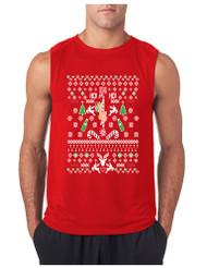 HO HO HO Christmas Stripper GYM Adult Sleeve less T Shirt