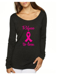 Refuse To Lose Breast Cancer Tri Blend Long Sleeve Scoop