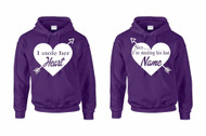 I stole her heart, so i'm stealing his last name valetine day couples gifts Hooded Sweatshirt