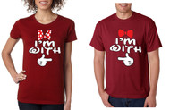 i`m with him i'm with her couples Tshirts mickey hands