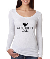 Game of Thrones Mother Of Cats Women Tri Blend Long Sleeve Scoop