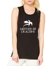 Women's Flowy Muscle Top Mother Of Dragons White Print