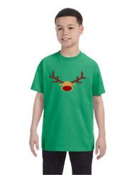 Kids T Shirt Reindeer Face Christmas Shirt Cool Funny Xmas Gift
