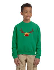 Kids Crewneck Reindeer Face Christmas Gift Cool Xmas Top