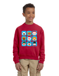Kids Crewneck Christmas Icons Cute Holiday Symbols Top