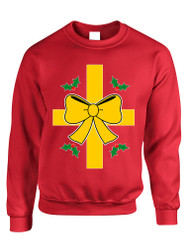 Adult Sweatshirt Christmas Gift Wrap Ugly Xmas Sweater Funny
