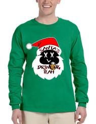 Men's Long Sleeve Santa's Drinking Team Cool Xmas Funny Top