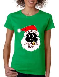 Women's T Shirt Santa's Drinking Team Ugly Xmas Funny Gift