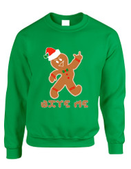 Adult Sweatshirt Bite Me Gingerbread Ugly Christmas Funny Top