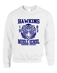 Adult Crewneck Sweatshirt Hawkins Middle School 1983