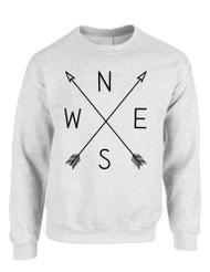Adult Sweatshirt Compass Arrow Nice Cool NWSE Graphic Top