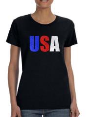 Women's T Shirt USA Glitter Flag Colors Cool 4th Of July Shirt