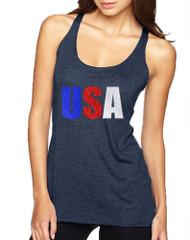 Women's Tank Top USA Glitter Flag Colors 4th Of July Tank