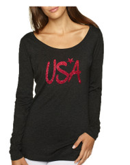 Women's Shirt USA Red Glitter Love America 4th Of July Shirt
