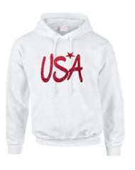 Adult Hoodie USA Red Glitter Love America 4th Of July Hoodie