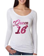 Women's Shirt Queen 16 Glitter Pink Sweet Sixteen 16th Birthday