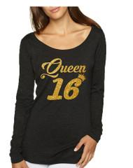 Women's Shirt Queen 16 Glitter Gold 16th Sweet Sixteen Party