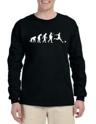 Men's Long Sleeve Soccer Evolution Funny Sport Shirt