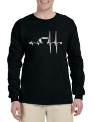 Men's Long Sleeve Coffee Heartbeat Coffee Lovers Tee Shirt