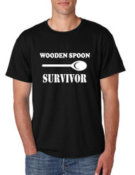 Men's T Shirt Wooden Spoon Survivor Funny Text Humor Tee Shirt
