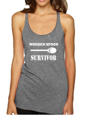 Women's Tank Top Wooden Spoon Survivor Humor Text Funny Top