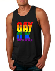 Men's Tank Top Gay OK Rainbow Pride Colors Support Love