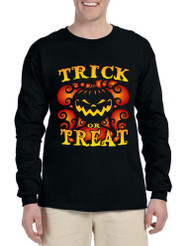 Men's Long Sleeve Trick Or Treat Halloween Top Pumpkin Shirt