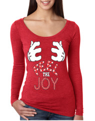 Women's Shirt Feel The Joy Cute Christmas Shirt Trendy Gift