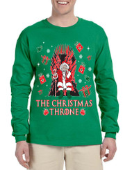 Men's Long Sleeve The Christmas Throne Santa Trendy Ugly Xmas