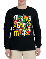 Men's Long Sleeve Merry Christmas Party Fireworks Ugly Shirt