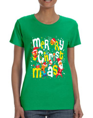 Women's T Shirt Merry Christmas Party Fireworks Ugly Xmas Gift