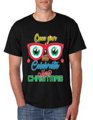 Men's T Shirt Open Your Eyes Lets Celebrate Merry Xmas Trendy Tee