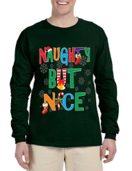 Men's Long Sleeve Naughty But Nice Cute Xmas Shirt Humor Gift