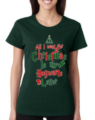Women's T Shirt All I Want For Xmas Is Hogwarts Letter Holiday Tee