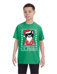 Kids Youth T Shirt Santa Claws Cat Ugly Xmas Cute Holiday Tee