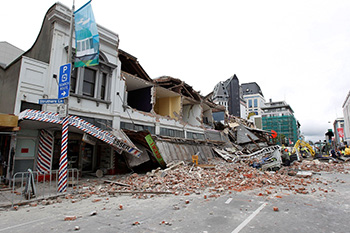 A shop front collapsed in the earthquake in Christchurch
