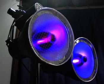 Two 400 watt UV Black Lights Turned On