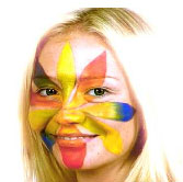 Girl with face and body paint on her face
