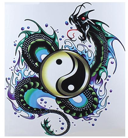 Temporary tattoo yin and yang
